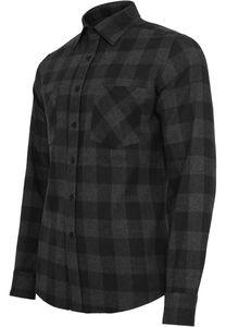 Urban Classics - Checked Flanell Shirt, TB297 Herren Hemd black charcoal Karo schwarz Freizeit Größe XL