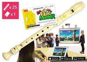 """Blockflötenkiste """"Flute Master 1"""" dt. (1 x App + 25 Blockflöten Kunststoff dt. GW)"""