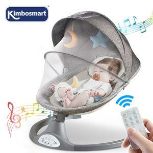 Kimbosmart 5 Geschwindigkeit bluetooth Babyschaukel Fernbedienung Wippe mit Moskitonetz Grau