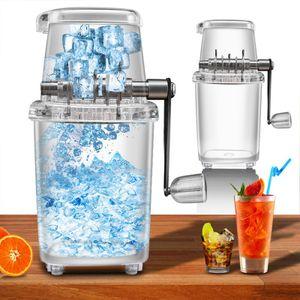 Manueller Eiszerkleinerer kleiner Haushalt Mehrzweck-Eismaschine mit Handkurbel-transparent