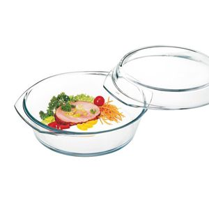 Simax Glasschüssel rund mit Deckel Backofenform Borosilikatglas 2.0l