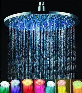 """7 Farben 8 """"Regen-rundes Badezimmer-Duschkopf RGB LED Blitzlicht"""