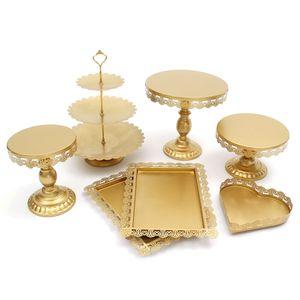 Meco 7 Stücke / Set Metall Kuchen- und Tortenständer Kuchenstand Kuchen Cupcake Torten Display für Geburtstag Hochzeitsfeier Gold