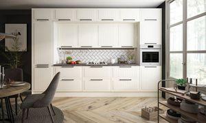 Küchenzeile 360cm weiß / perlweiß matt lackiert Küchenblock Landhaus