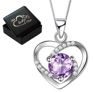 Herzkette 45cm 925 Sterling Silber mit Zirkonia Kette Herz Anhänger für Frauen + Gravur Box K818-45cm V8