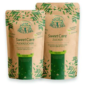 SweetCare Kristall- und Puderzucker im Vorteilspack Zuckerersatz mit Erythritol und Stevia, die natürliche Alternative zu Zucker ohne Kalorien