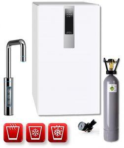 Einbau-Tafelwasseranlage BLACK & WHITE HOT DIAMOND (Option CO2 Eigentumsflasche: 10kg CO2 Flasche / Armatur: U-Auslauf / Farbe: weiß)