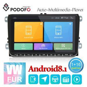 Podofo Android 8.1 Autoradio Stereo 9 Zoll GPS Navigation Bluetooth USB Player 1G + 16G für VW Passat Golf MK5 MK6 Jetta T5 EOS POLO Touran SEAT Sharan