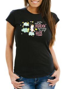 Damen T-Shirt auf dem Boden der Tatsachen liegt eindeutig zu wenig Glitzer Slim Fit Moonworks® schwarz S