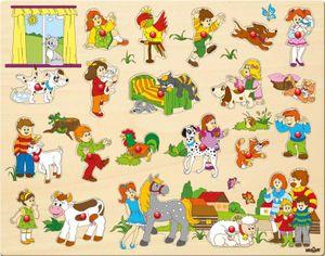 Kinder Tier Holz-Steckpuzzle - Holzspielzeug Setzpuzzle