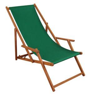 Liegestuhl Sonnenliege grün Gartenliege Holz Deckchair Strandstuhl Massivholz Gartenmöbel 10-304