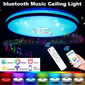Fernbedienung + APP Steuerung 85-265V Dimmbar RGB LED Deckenleuchte Lampe bluetooth Lautsprecher