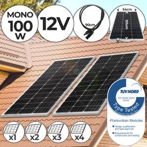 Yangtze Power® Monokristallin Photovoltaik Solarmodul - 100W, inkl. MC4 Ladekabel, 17 18 V für 12 v Batterien - Solarpanel, Solarzelle, Solarladegerät, Solaranlage für Wohnwagen, Camping