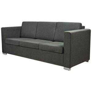 vidaXL 3-Sitzer Sofa Stoff Dunkelgrau