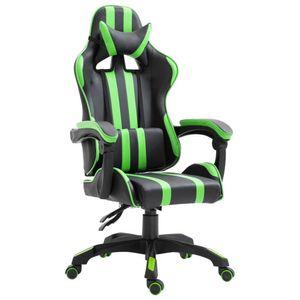 Grüner Kunstlederspielstuhl Gaming Sessel Schreibtischstuhl Racing Chair mit Armlehne Chefsessel Höhenverstellbarer Drehstuhl Ergonomischer Schreibtischstuhl hohe Rückenlehne mit Massage Lendenwirbelstütze Anpassung der Rückenlehne für Gamer