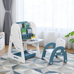 COSTWAY 2 in 1 Kinder Staffelei & Kindersitzgruppe mit Bücherregal, Kindertisch & -stuhl mit Aufbewahrungsablage und klappbarer Tischplatte, magnetische Standtafel mit Malzubehör (Blau)