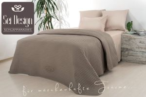 Sei Design® Royal Ambienc Luxus Tagesdecke taupe/nude - Wendedecke gesteppt 220x240cm