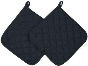 2er Set Topflappen aus Baumwolle, 24x24 cm, schwarz