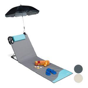 relaxdays Strandmatte mit Sonnenschirm