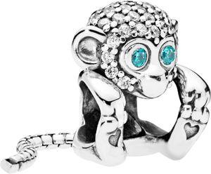 PANDORA Charm 798054CZ Sparkling Monkey Affe Zirkonia weiss blau