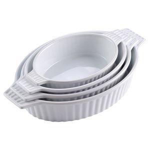 MALACASA, Serie Bake.Bake, 4 tlg. Set Porzellan Backform Auflaufform Ofenform, 4 Größe, Oval, Weiß