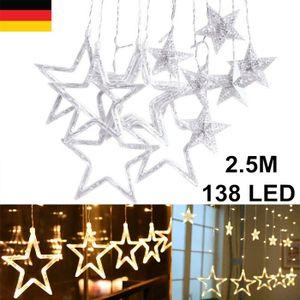 Melario Sterne Led Lichterkette Lichtervorhang Lichtnetz Fenster Garten Außen Warmweiß Sternenvorhang Weihnachtsdeko 2.5M 138 LED