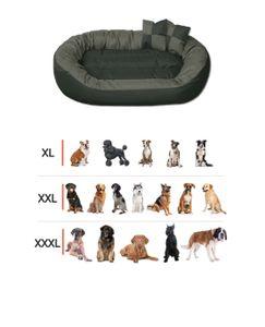 BedDog® Hundebett SUNNY 4in1 oder einfarbig, großes Hundekörbchen aus Cordura, waschbares Hundebett mit Rand, Hundekissen oval-rund, Größe:XXL (ca. 110x80cm), Farbe:CANDY (pink/schwarz)