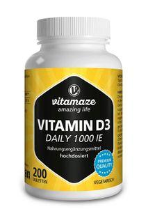 Vitamin D3 1.000 IE Daily hochdosiert, 200 vegetarische Tabletten