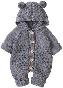 Neugeborenes Baby Ohr Kapuze Gestrickte Strampler Overall Winter wärmer Schneeanzug für Jungen Mädchen  80cm