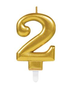 Metallic Gold Zahlenkerze 2 für Geburtstag & Jubiläum