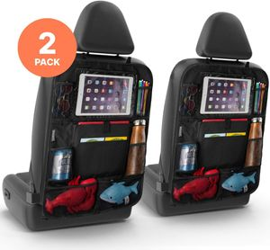 VADOOLL 2er Set Rücksitz Auto Organizer - Multifunktionaler Rückenschutz Auto für iPad, Getränke, Spielzeug, usw.- Easy Kinder Autositzschoner Rückenlehne Rückenlehnenschutz Autoorganisator Autositz