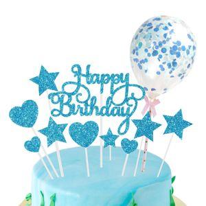 Geburtstag Kuchen Topper Set, Glitter Glücklich Geburtstag Kuchen Cupcake Farbe Blau