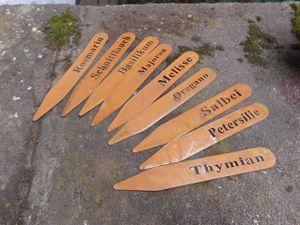 Kräuterstecker Topfstecker Beetstecker Gewürzstecker 9 Stück  Eisen Rost 18 cm