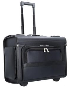 Pilotenkoffer Aktenkoffer Laptop Trolley Koffer Kunstleder Schwarz 48 cm Bowatex