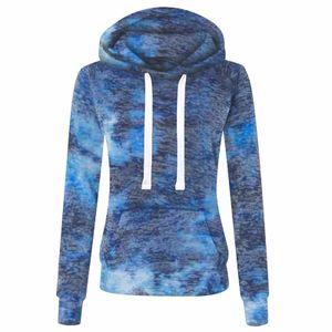 Damenmode Casual Tie-Dyed Print Reißverschluss Langarm Tasche loser Mantel Größe:XL,Farbe:Blau