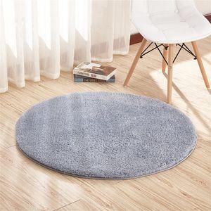 Teppiche Schurwolle Wohnzimmer Flauschig Modern Outdoor Teppiche Rund rutschfest Anti Rutsch Grau 120cm
