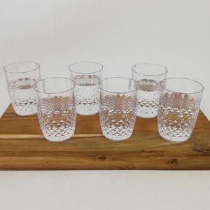 6er Set Kunststoff Wasser-Gläser Kristalleffekt 400ml / Ø8x11,5cm
