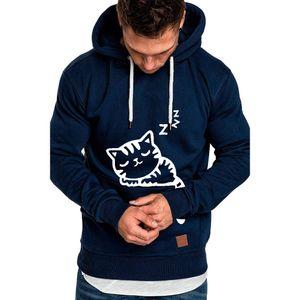 Lässig bedrucktes Langarm-Kapuzenhemd mit lockerem Sweatshirt für Herren Größe:5XL,Farbe:Navy