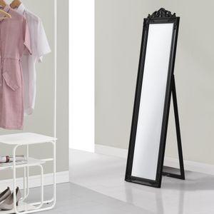 Standspiegel 160x40 cm Ganzkörperspiegel rechteckig Ankleidespiegel kippbar Barock Schwarz [en.casa]