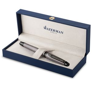 Waterman Expert Füllfederhalter | Silberfarbene Metallic-Lackierung mit Ruthenium-Zierteilen | Medium Edelstahlfeder mit PVD-Beschichtung | Blaue Tinte | In Geschenkbox