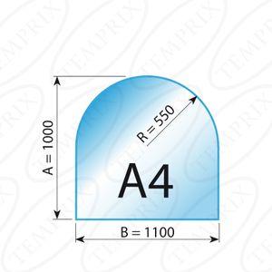 KaminbodenplatteTransparent  Form A4  1000 x 1100 x 6mm - (Tragkraft bis 700 Kg)