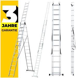 Mehrzweckleiter 3x6 3x7 3x9 3x11 3x12 3x14 Anlegeleiter Schiebeleiter Alu Leiter (10 Meter (3x14 Sprossen))