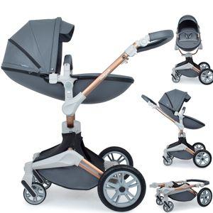 Daliya ® 2in1 360° Turniyo Kinderwagen mit Sportsitz & Babywanne, Babyschalen Adapter, Kombikinderwagen Travel-System Erweiterbar - Farbe dunkel Grau