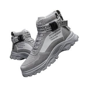 Herren Mode Neue Martin Stiefel Verstellbare Kurze Stiefel Pure Color Ankle Boots,Farbe: Grau,Größe:42