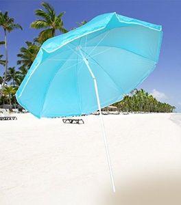 HUKITECH Stabiler Sonnenschirm mit Knickgelenk  (ø 160 cm) höhenverstellbar & klappbar  - für Balkon Garten Terrasse