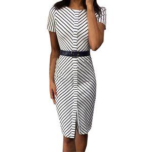 Damen Stripe Pritn O-Neck Midi Kleid Kurzarm Bodycon Kleid Größe:L,Farbe:Weiß