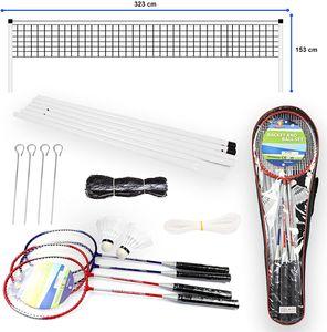 Badminton Set 4 Personen Komplettset mit Schläger Bälle Pfosten Netz und Tragetasche