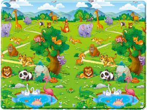 Bieco Spielmatte, doppelseitiges Tiermotiv | Teppich Kinderzimmer | Spielmatte Baby Teppich | Spielmatte Kinder Teppiche | Krabbelmatte Baby | Spieldecke Baby | Kleiner Teppich Waschbar | Krabbeldecke