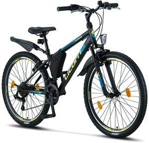 Licorne Bike Guide Premium Mountainbike in 20, 24 und 26 Zoll - Fahrrad für Mädchen, Jungen, Herren und Damen - Shimano 21 Gang-Schaltung, Kinderfahrrad, Kinder, Farbe:Schwarz/Blau/Lime, Zoll:26