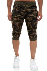 Herren Jogging Shorts Bermuda Tarnmuster Sweat Pants Zip Taschen Sporthose, Farben:Dunkelgrün, Größe Hosen:XXL